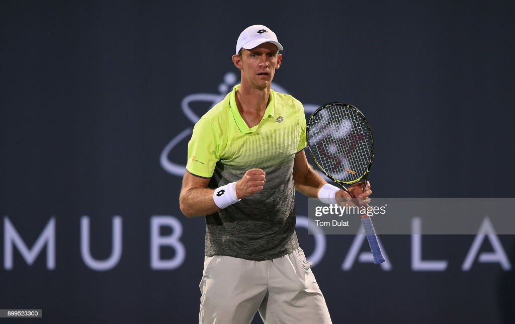 Kevin Anderson of South Africa celebrates a point during his semi-final match against Dominic Thiem of Austria on day two of the Mubadala World Tennis Championship at International Tennis Centre Zayed Sports City on December 29, 2017 in Abu Dhabi, United Arab Emirates.