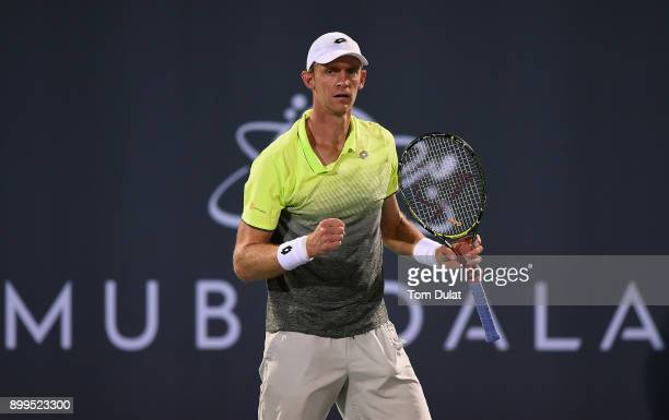 Kevin Anderson of South Africa celebrates a point during his semifinal match against Dominic Thiem of Austria on day two of the Mubadala World Tennis...