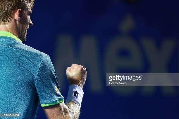 Kevin Anderson of South Africa celebrates a point during the match between Hyeon Chung of Korea and Kevin Anderson of South Africa as part of the...