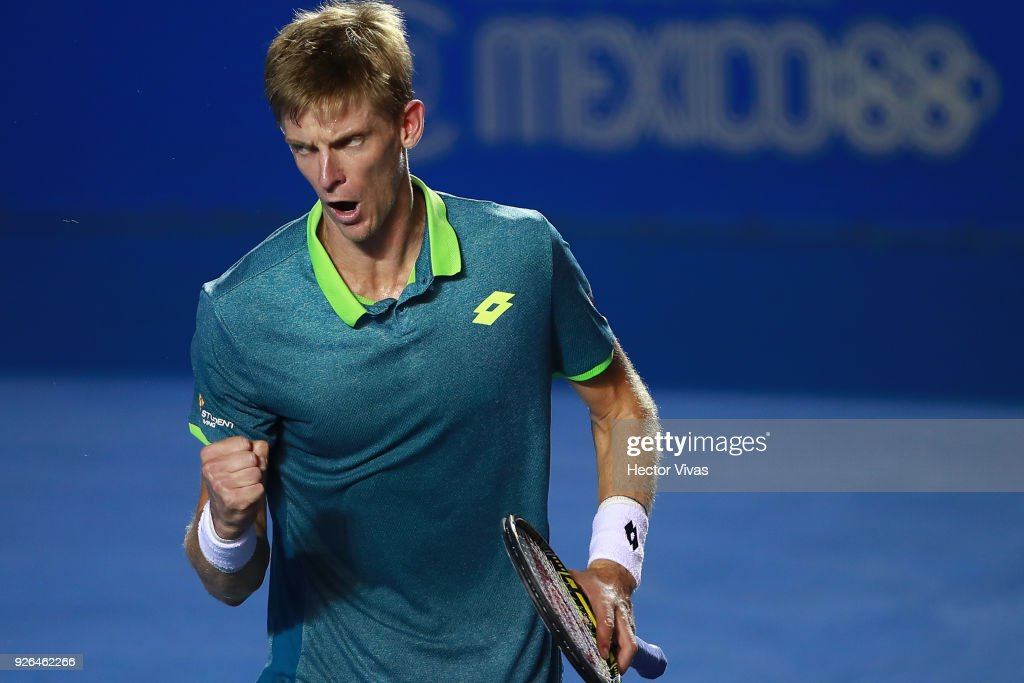 Kevin Anderson of South Africa celebrates a point during the match between Hyeon Chung of Korea and Kevin Anderson of South Africa as part of the Telcel ATP Mexican Open 2018 on March 01, 2018 in Acapulco, Mexico.