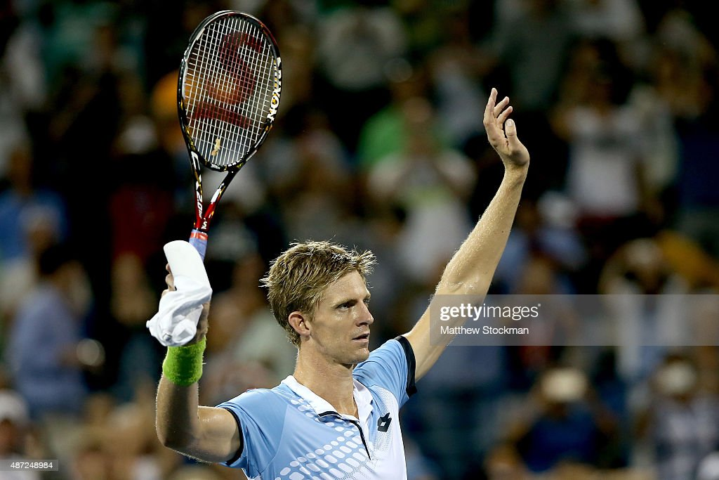 Kevin Anderson of South Africa celebrates after defeating Andy Murray of Great Britain during their Men's Singles Fourth Round match on Day Eight of the 2015 US Open at the USTA Billie Jean King National Tennis Center on September 7, 2015 in the Flushing neighborhood of the Queens borough of New York City.