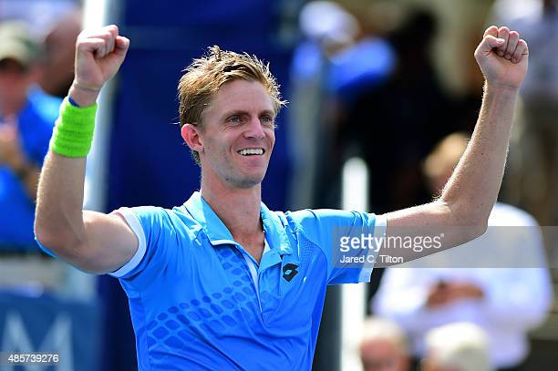 Kevin Anderson of South Africa celebrates after defeating PierreHugues Herbert of France during the men's final match of the WinstonSalem Open at...