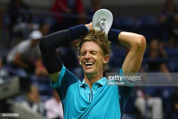 Kevin Anderson of South Africa celebrates after defeating Pablo Carreno Busta of Spain in their Men's Singles Semifinal match on Day Twelve during...