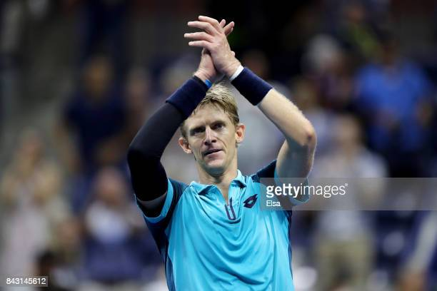 Kevin Anderson of South Africa celebrates after defeating Sam Querrey of the United States in their Men's Singles Quarterfinal match on Day Nine of...