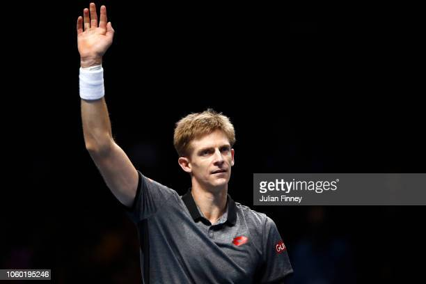 Kevin Anderson of South Africa celebrates after match point after he wins his match against Dominic Thiem of Austria during Day One of the Nitto ATP...