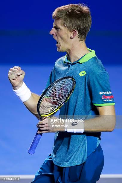 Kevin Anderson of South Africa celebrates during a semifinal match between Jared Donaldson of United States and Kevin Anderson of South Africa as...