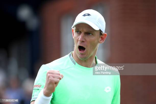 Kevin Anderson of South Africa celebrates during his mens singles first round match against Cameron Norrie of Great Britain during day one of the...