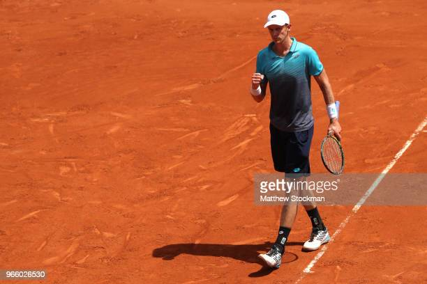 Kevin Anderson of South Africa celebrates during the mens singles third round match against Mischa Zverev of Germany during day seven of the 2018...