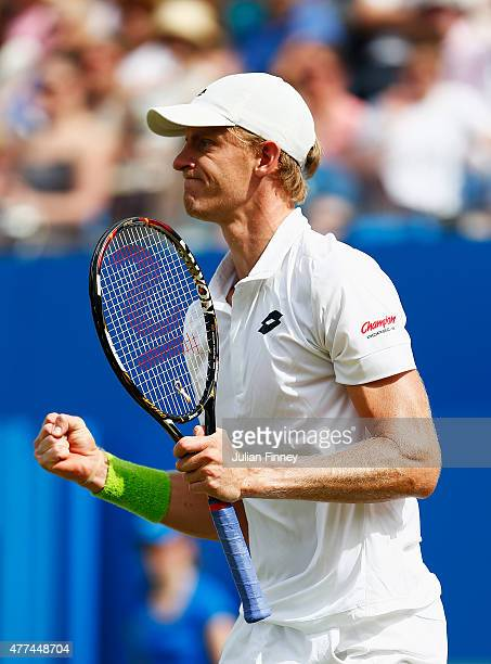 Kevin Anderson of South Africa celebrates his victory in his men's singles second round match against Stanislas Wawrinka of Switzerland during day...