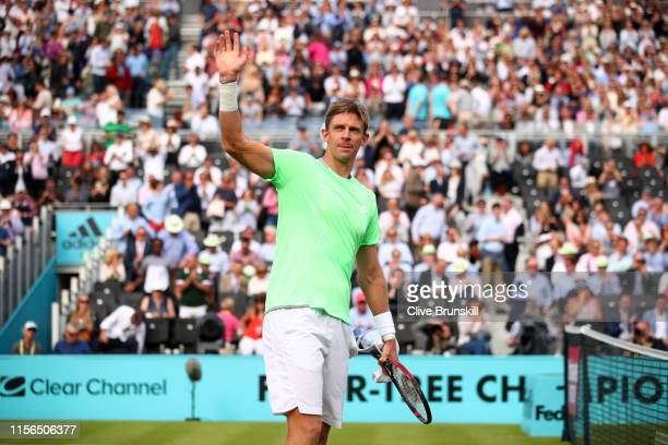 Kevin Anderson of South Africa celebrates victory after his First Round Singles Match against Cameron Norrie of Great Britain during Day One of the...