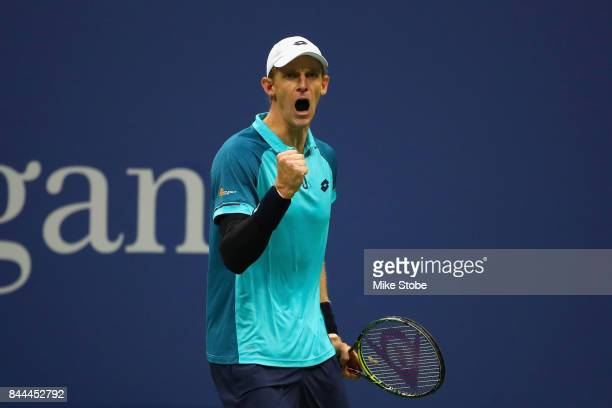 Kevin Anderson of South Africa celebrates while playing against Pablo Carreno Busta of Spain in their Men's Singles Semifinal match on Day Twelve...