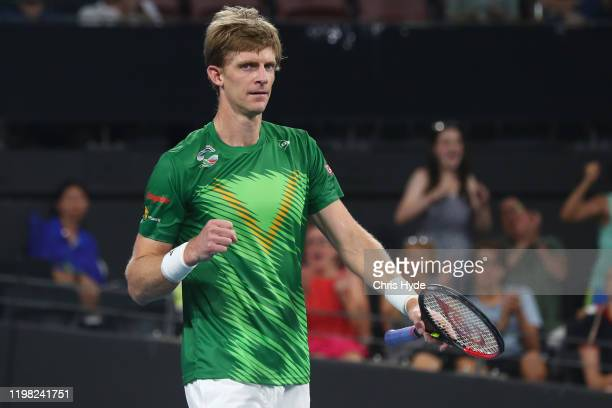Kevin Anderson of South Africa celebrates winning his match against Benoit Paire of France during day six of the 2020 ATP Cup Group Stage at Pat...