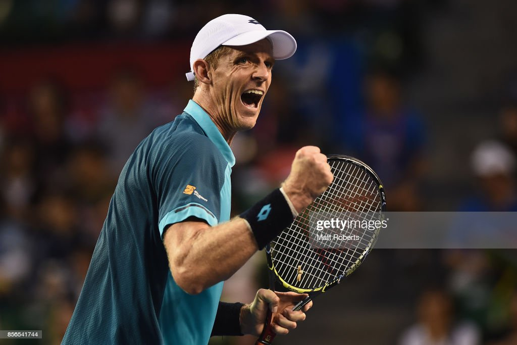 Kevin Anderson of South Africa celebrates winning his match against Gilles Simon of France during day one of the Rakuten Open at Ariake Coliseum on October 2, 2017 in Tokyo, Japan.