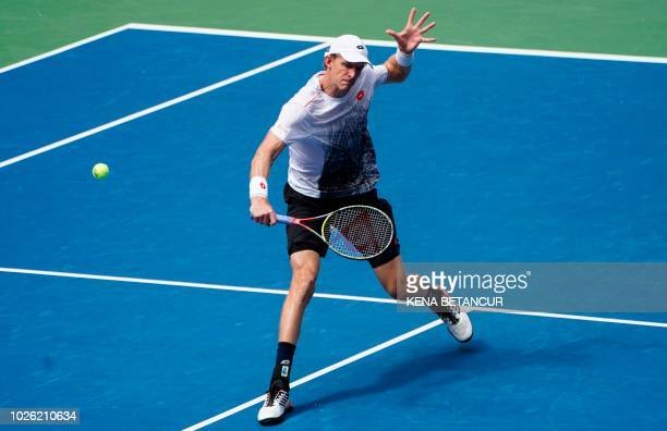 Kevin Anderson of South Africa competes against Dominic Thiem of Austria during Day 7 of the 2018 US Open Men's Singles match at the USTA Billie Jean...