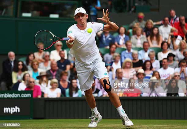 Kevin Anderson of South Africa during his Gentlemen's Singles fourth round match against Andy Murray of Great Britain on day seven of the Wimbledon...