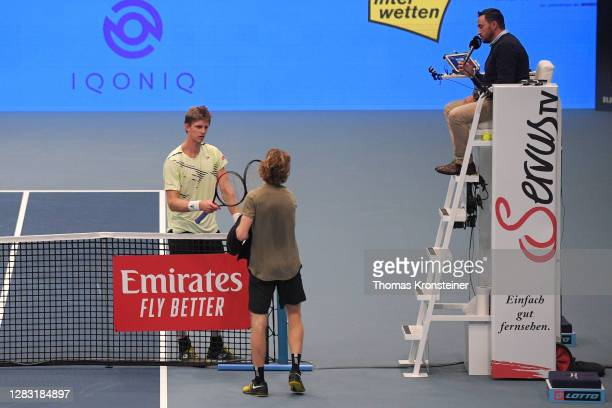 Kevin Anderson of South Africa gives up in his semi final match against Andrey Rublev of Russia on day eight of the Erste Bank Open tennis tournament...
