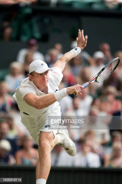 Kevin Anderson of South Africa in action against John Isner of the United States in the Men's Singles Semifinal on Center Court during the Wimbledon...