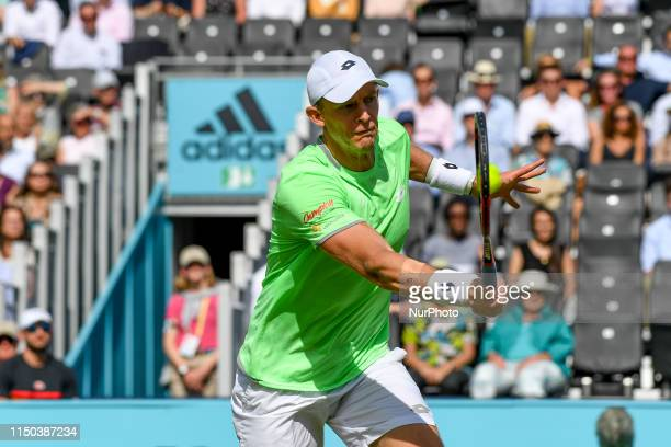 Kevin Anderson of South Africa is seen in action during first round match against Cameron Norrie of Great Britain, on day one of Fever Tree...