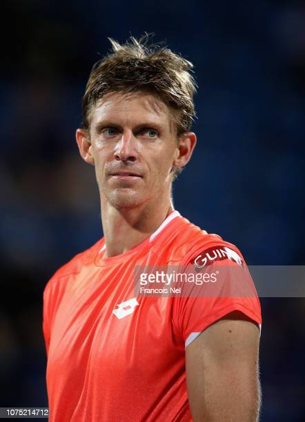 Kevin Anderson of South Africa looks on after winning his men's singles match against Hyeon Chung of South Korea on day one of the Mubadala World...