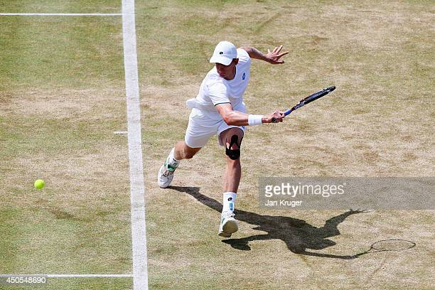 Kevin Anderson of South Africa plays a backhand shot against Radek Stepanek of the Czech Republic during their Men's Singles on day five of the Aegon...