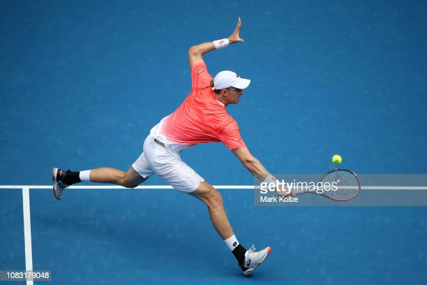 Kevin Anderson of South Africa plays a backhand volley in his second round match against Frances Tiafoe of the United States during day three of the...