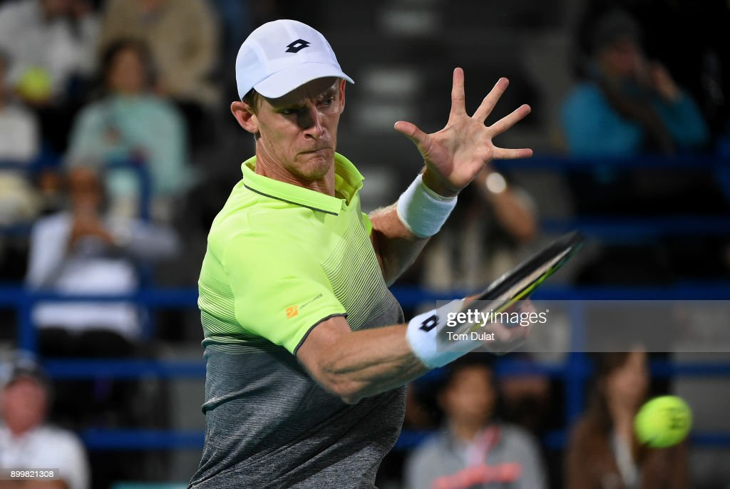 Kevin Anderson of South Africa plays a forehand during his final match against Roberto Bautista Agut of Spain on day three of the Mubadala World Tennis Championship at International Tennis Centre Zayed Sports City on December 30, 2017 in Abu Dhabi, United Arab Emirates.