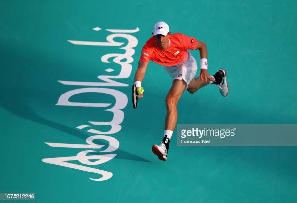 Kevin Anderson of South Africa plays a forehand during his men's singles match on day one of the Mubadala World Tennis Championship at International...