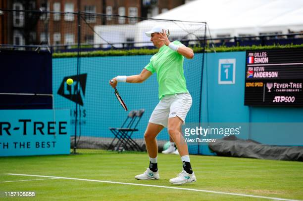 Kevin Anderson of South Africa plays a forehand during his Second Round Singles Match against Gilles Simon of France during day Four of the FeverTree...