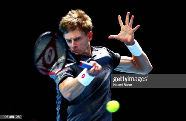 Kevin Anderson of South Africa plays a forehand during his singles round robin match against Kei Nishikori of Japan during Day Three of the Nitto ATP...