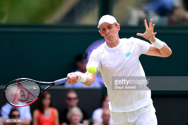 Kevin Anderson of South Africa plays a forehand in his Men's Singles third round match against Guido Pella of Argentina during Day five of The...