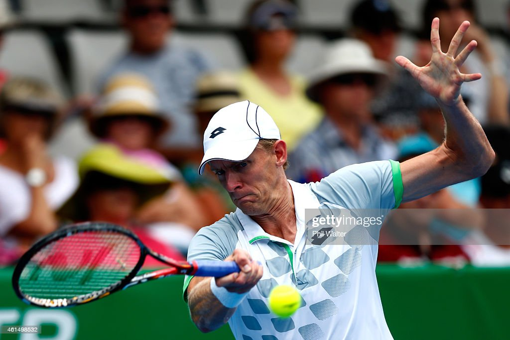 Kevin Anderson of South Africa plays a forehand in his singles match against Jan-Lennard Struff of Germany during day three of the 2015 Heineken Open Classic at the Auckland Tennis Centre on January 14, 2015 in Auckland, New Zealand.