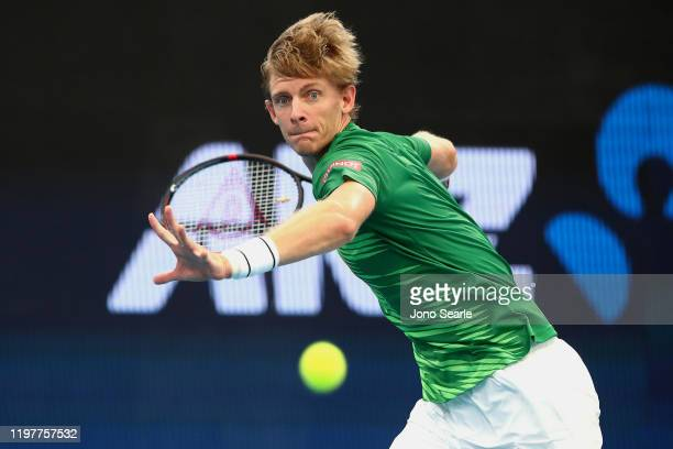 Kevin Anderson of South Africa plays a shot in his match against Cristian Garin of Chile during day four of the 2020 ATP Cup Group Stage at Pat...