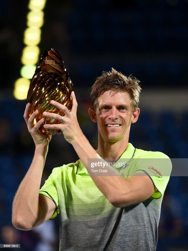 Kevin Anderson of South Africa poses with the trophy after winning his final match against Roberto Bautista Agut of Spain on day three of the Mubadala World Tennis Championship at International Tennis Centre Zayed Sports City on December 30, 2017 in Abu Dhabi, United Arab Emirates.