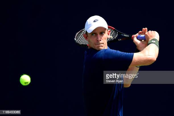 Kevin Anderson of South Africa practices ahead of the 2019 US Open at USTA Billie Jean King National Tennis Center on August 21, 2019 in New York...
