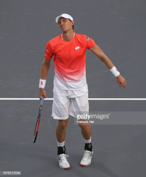 Kevin Anderson of South Africa reacts during his men's singles match on day one of the Mubadala World Tennis Championship at International Tennis...