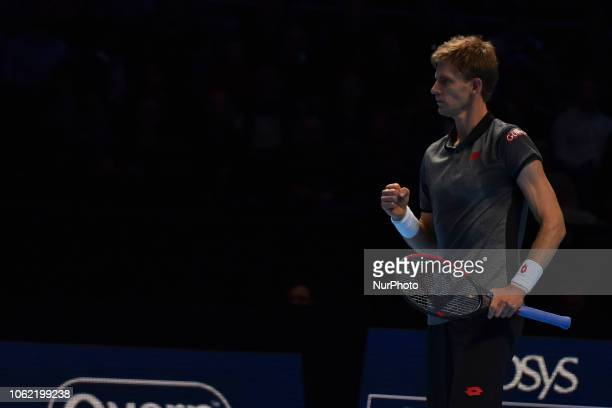 Kevin Anderson of South Africa reacts during his round robin match against Roger Federer of Switzerland during Day Five of the Nitto ATP Finals at...
