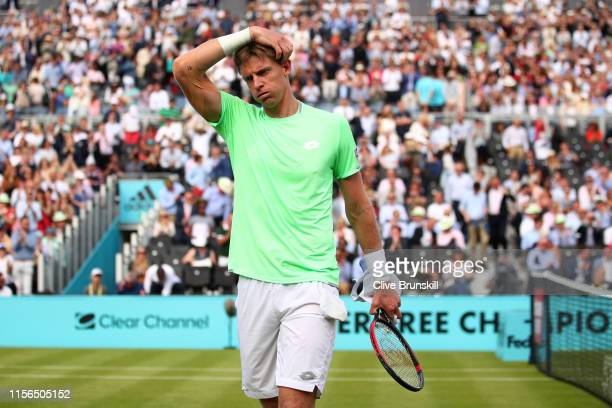 Kevin Anderson of South Africa reacts following victory in his First Round Singles Match against Cameron Norrie of Great Britain during Day One of...