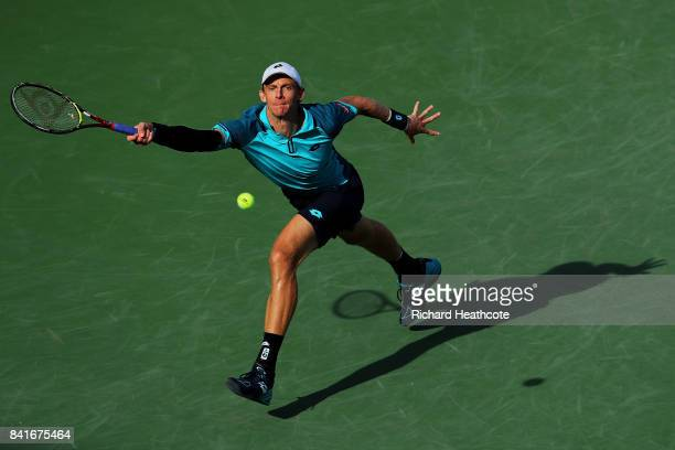 Kevin Anderson of South Africa returns a shot to Borna Coric of Croatia during his third round match on Day Five of the 2017 US Open at the USTA...