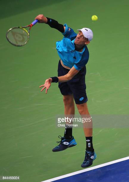 Kevin Anderson of South Africa serves against Pablo Carreno Busta of Spain in their Men's Singles Semifinal match on Day Twelve during the 2017 US...