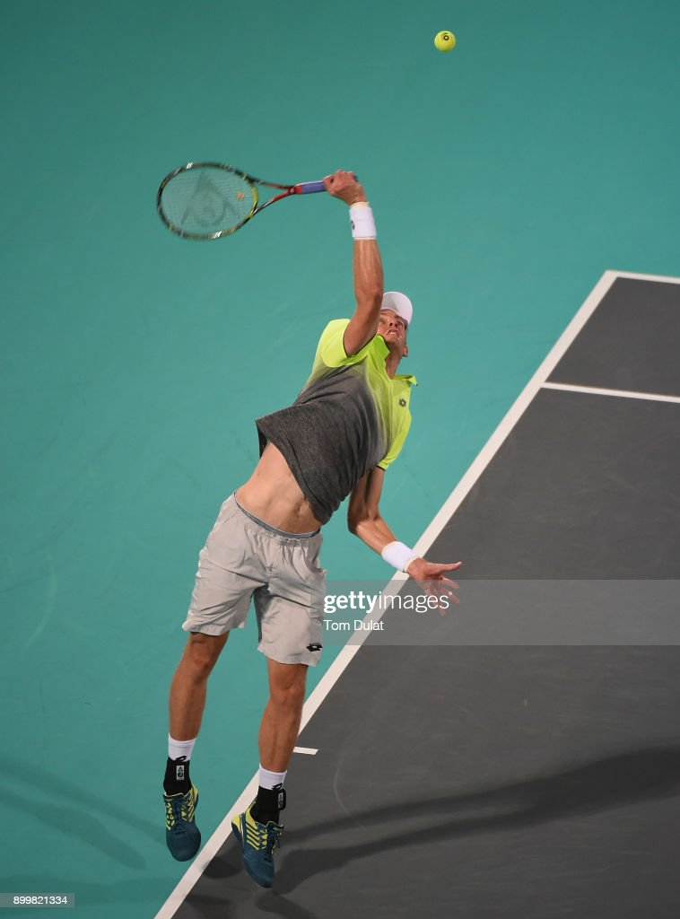 Kevin Anderson of South Africa serves during his final match against Roberto Bautista Agut of Spain on day three of the Mubadala World Tennis Championship at International Tennis Centre Zayed Sports City on December 30, 2017 in Abu Dhabi, United Arab Emirates.