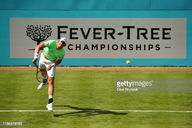 Kevin Anderson of South Africa serves during his First Round Singles Match against Cameron Norrie of Great Britain during Day One of the FeverTree...