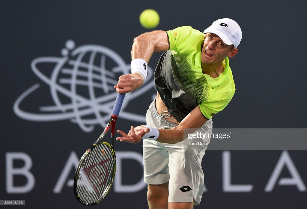 Kevin Anderson of South Africa serves during his semi-final match against Dominic Thiem of Austria on day two of the Mubadala World Tennis Championship at International Tennis Centre Zayed Sports City on December 29, 2017 in Abu Dhabi, United Arab Emirates.