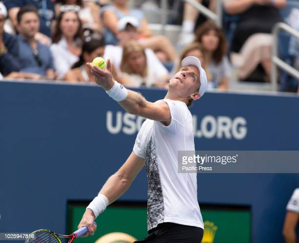 Kevin Anderson of South Africa serves during US Open 2018 3rd round match against Denis Shapovalov of Canada at USTA Billie Jean King National Tennis...