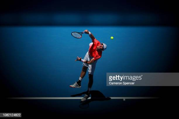 Kevin Anderson of South Africa serves in his first round match against Adrian Mannarino of France during day one of the 2019 Australian Open at...