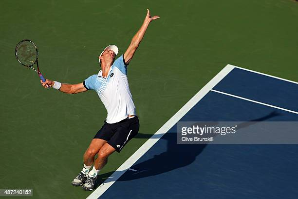 Kevin Anderson of South Africa serves to Andy Murray of Great Britain during their Men's Singles Fourth Round match on Day Eight of the 2015 US Open...