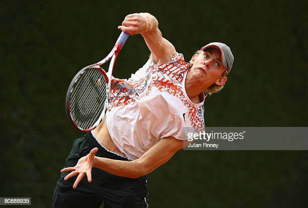 Kevin Anderson of South Africa serves to Dmitry Tursunov of Russia during the Open Sabadell Atlantico Barcelona 2008 Tennis at the Real Club on April...