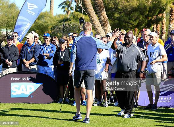 Kevin Anderson of South Africa the ATP Tennis player with Dommie Frazier the former NFL Quarter Back during the special 'Poker Challenge' prior to...