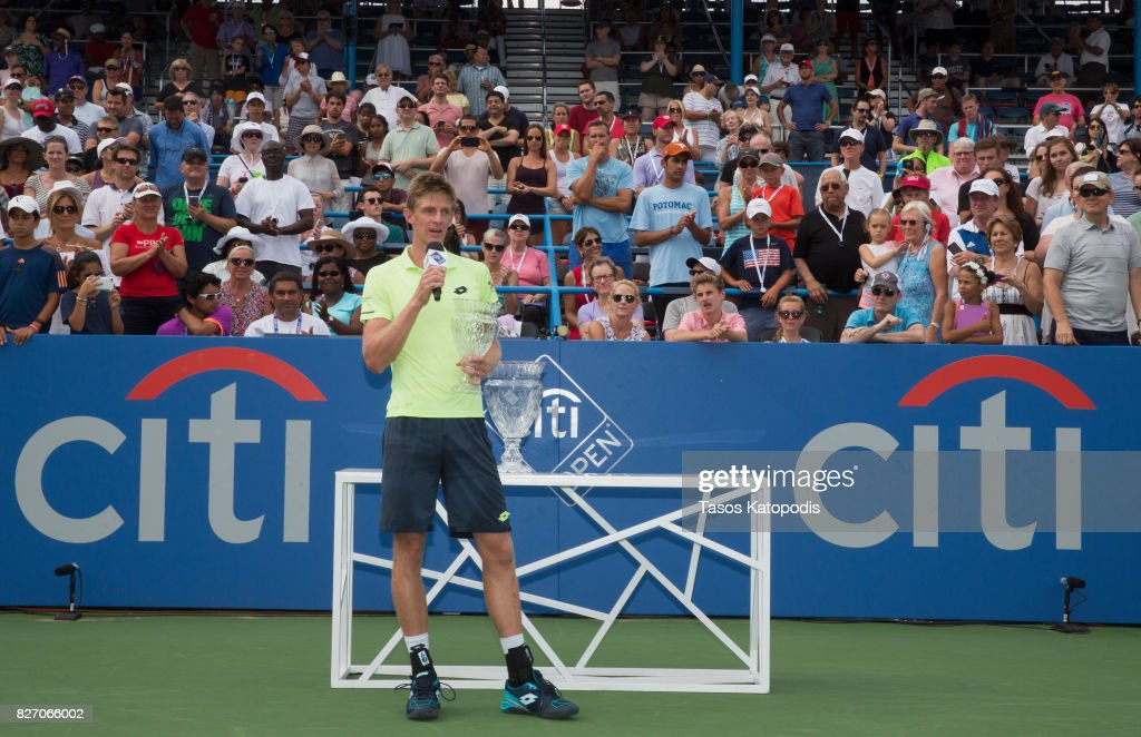 Kevin Anderson of South Africa who finished second against Alexander Zverev of Germany at William H.G. FitzGerald Tennis Center on August 6, 2017 in Washington, DC.