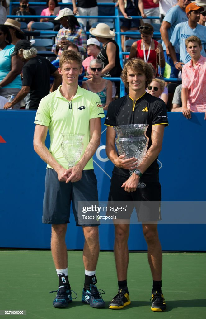 Kevin Anderson of South Africa who finished second against (R) Alexander Zverev of Germany at William H.G. FitzGerald Tennis Center on August 6, 2017 in Washington, DC.