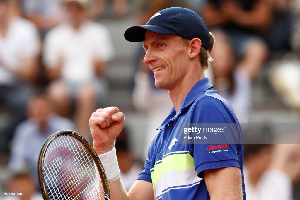 Kevin Anderson of the United States celebrates victory during the men's singles second round match against Nick Kyrgios of Australia on day five of the 2017 French Open at Roland Garros on June 1, 2017 in Paris, France.